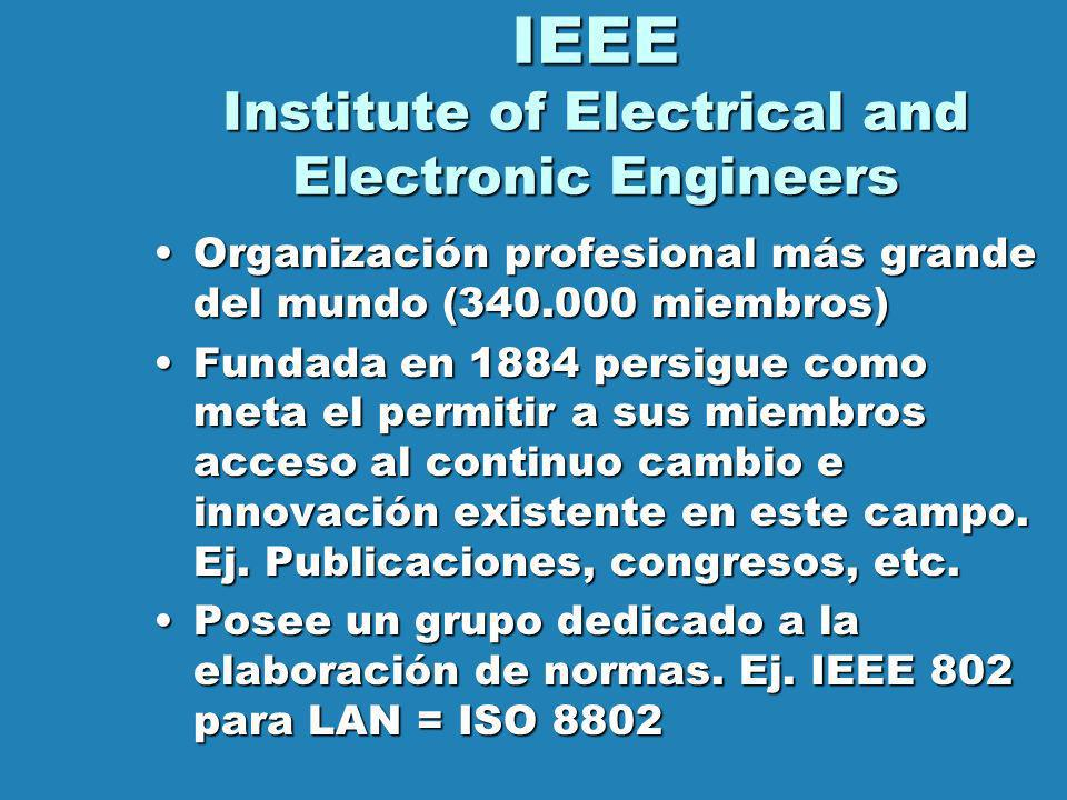 IEEE Institute of Electrical and Electronic Engineers Organización profesional más grande del mundo (340.000 miembros)Organización profesional más gra