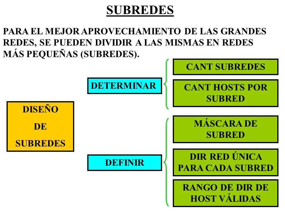 SUBREDES PARA EL MEJOR APROVECHAMIENTO DE LAS GRANDES REDES, SE PUEDEN DIVIDIR A LAS MISMAS EN REDES MÁS PEQUEÑAS (SUBREDES). DISEÑO DE SUBREDES DETER