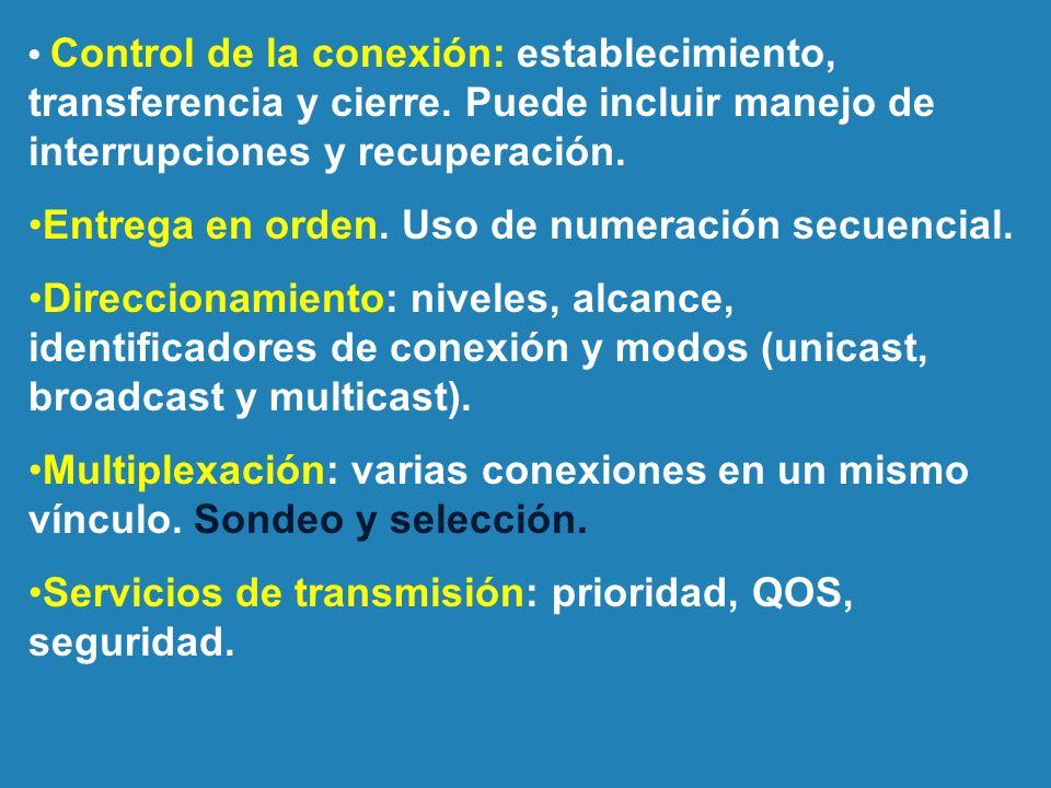 Control de la conexión: establecimiento, transferencia y cierre. Puede incluir manejo de interrupciones y recuperación. Entrega en orden. Uso de numer