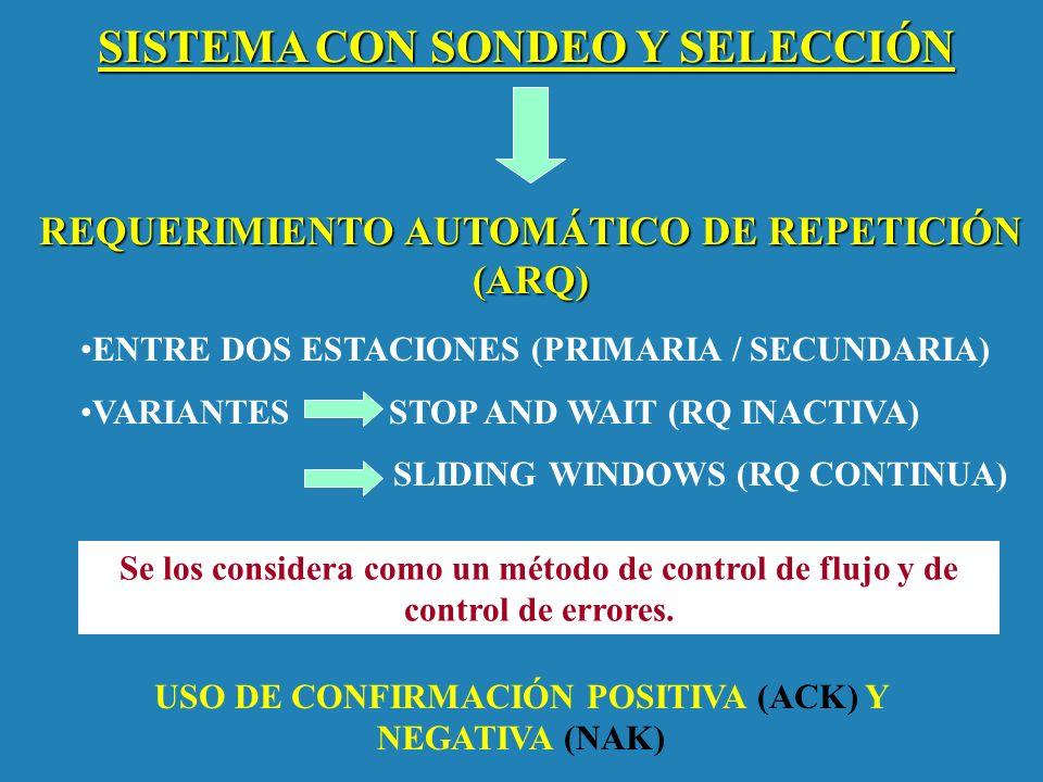 SISTEMA CON SONDEO Y SELECCIÓN REQUERIMIENTO AUTOMÁTICO DE REPETICIÓN (ARQ) ENTRE DOS ESTACIONES (PRIMARIA / SECUNDARIA) VARIANTES STOP AND WAIT (RQ I
