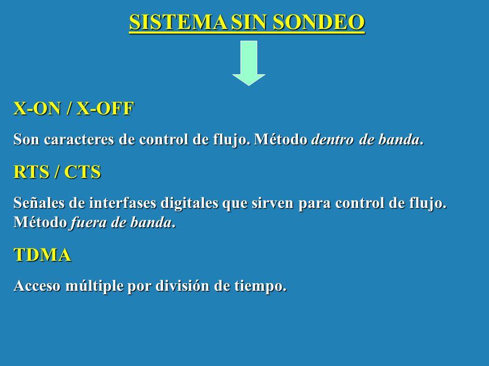 SISTEMA SIN SONDEO X-ON / X-OFF Son caracteres de control de flujo. Método dentro de banda. RTS / CTS Señales de interfases digitales que sirven para
