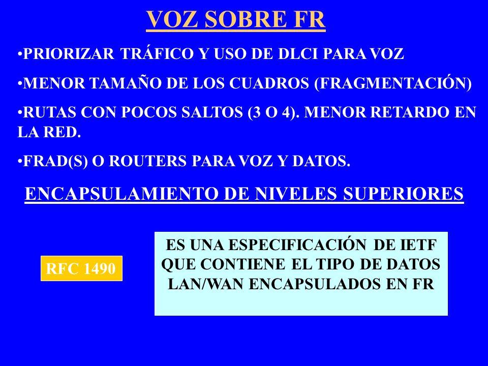 VOZ SOBRE FR PRIORIZAR TRÁFICO Y USO DE DLCI PARA VOZ MENOR TAMAÑO DE LOS CUADROS (FRAGMENTACIÓN) RUTAS CON POCOS SALTOS (3 O 4). MENOR RETARDO EN LA