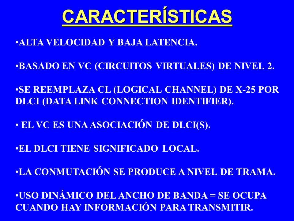 CARACTERÍSTICAS ALTA VELOCIDAD Y BAJA LATENCIA. BASADO EN VC (CIRCUITOS VIRTUALES) DE NIVEL 2. SE REEMPLAZA CL (LOGICAL CHANNEL) DE X-25 POR DLCI (DAT
