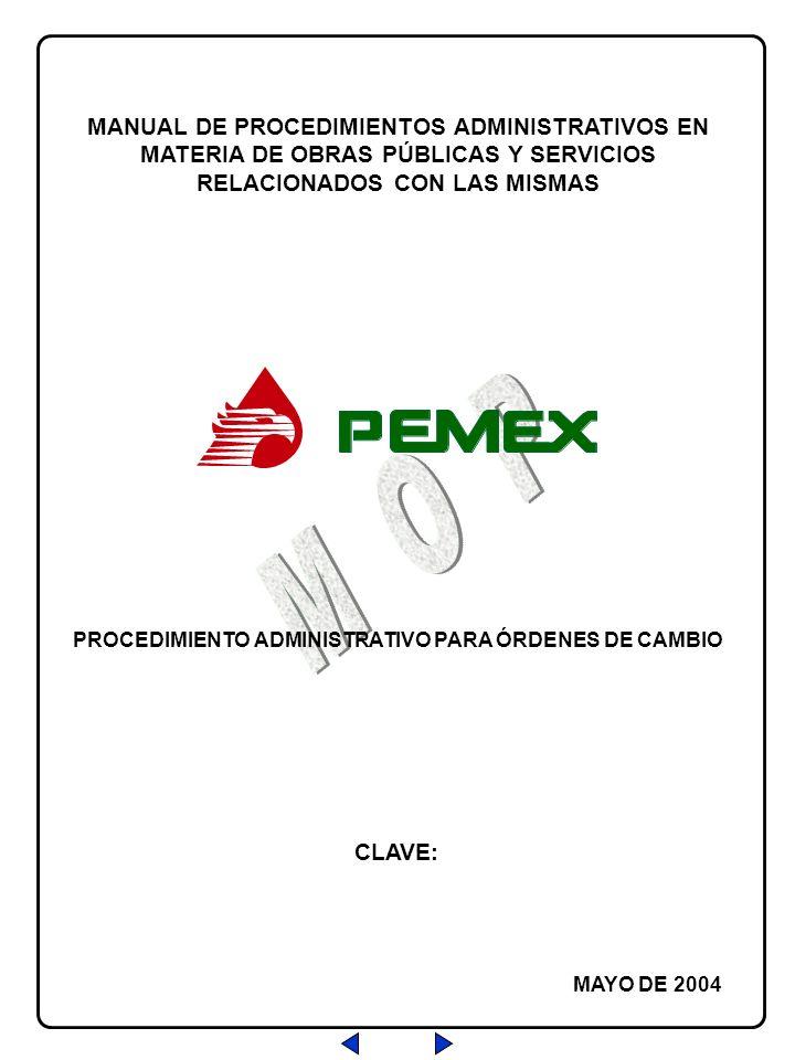 Salir PROCEDIMIENTO ADMINISTRATIVO PARA ÓRDENES DE CAMBIO CLAVE: REVISIÓN: 0 FECHA: 07/MAY/04 HOJA: Hoja No.