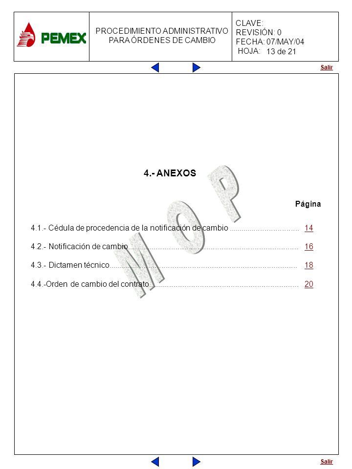 Salir PROCEDIMIENTO ADMINISTRATIVO PARA ÓRDENES DE CAMBIO CLAVE: REVISIÓN: 0 FECHA: 07/MAY/04 HOJA: 4.- ANEXOS 4.1.- Cédula de procedencia de la notif
