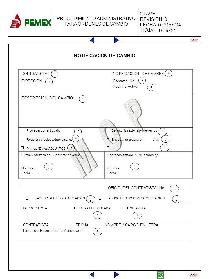 Salir PROCEDIMIENTO ADMINISTRATIVO PARA ÓRDENES DE CAMBIO CLAVE: REVISIÓN: 0 FECHA: 07/MAY/04 HOJA: NOTIFICACION DE CAMBIO CONTRATISTA:NOTIFICACION DE
