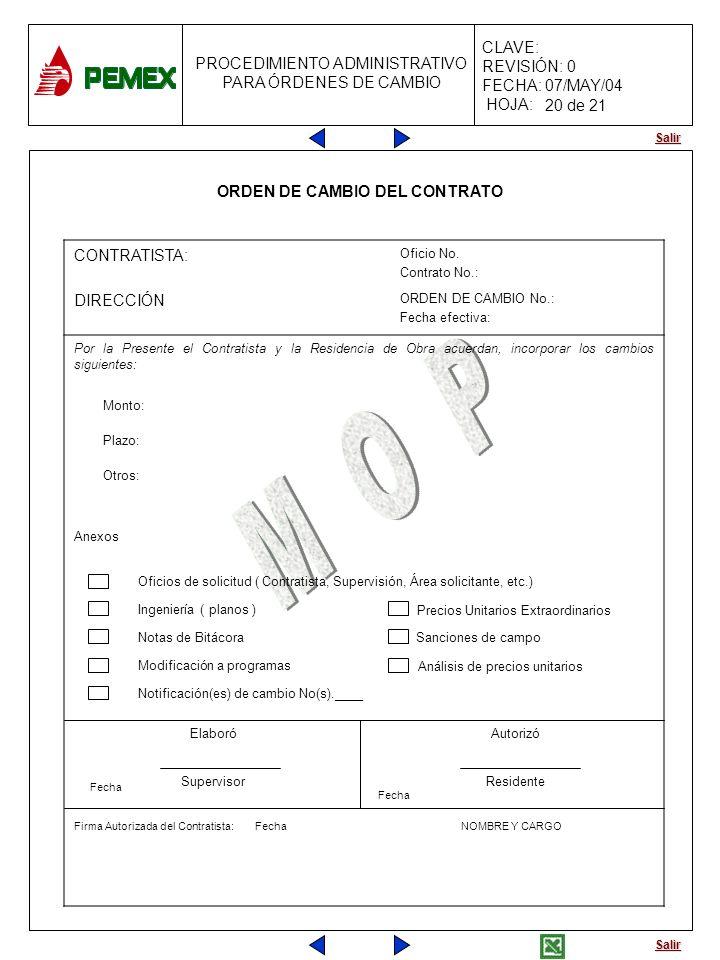 Salir PROCEDIMIENTO ADMINISTRATIVO PARA ÓRDENES DE CAMBIO CLAVE: REVISIÓN: 0 FECHA: 07/MAY/04 HOJA: ORDEN DE CAMBIO DEL CONTRATO CONTRATISTA: Oficio N