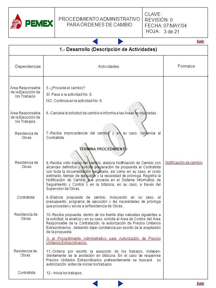 Salir PROCEDIMIENTO ADMINISTRATIVO PARA ÓRDENES DE CAMBIO CLAVE: REVISIÓN: 0 FECHA: 07/MAY/04 HOJA: Actividades Formatos Dependencias 5.-¿Procede el c