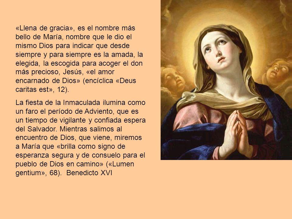 «Llena de gracia», es el nombre más bello de María, nombre que le dio el mismo Dios para indicar que desde siempre y para siempre es la amada, la eleg