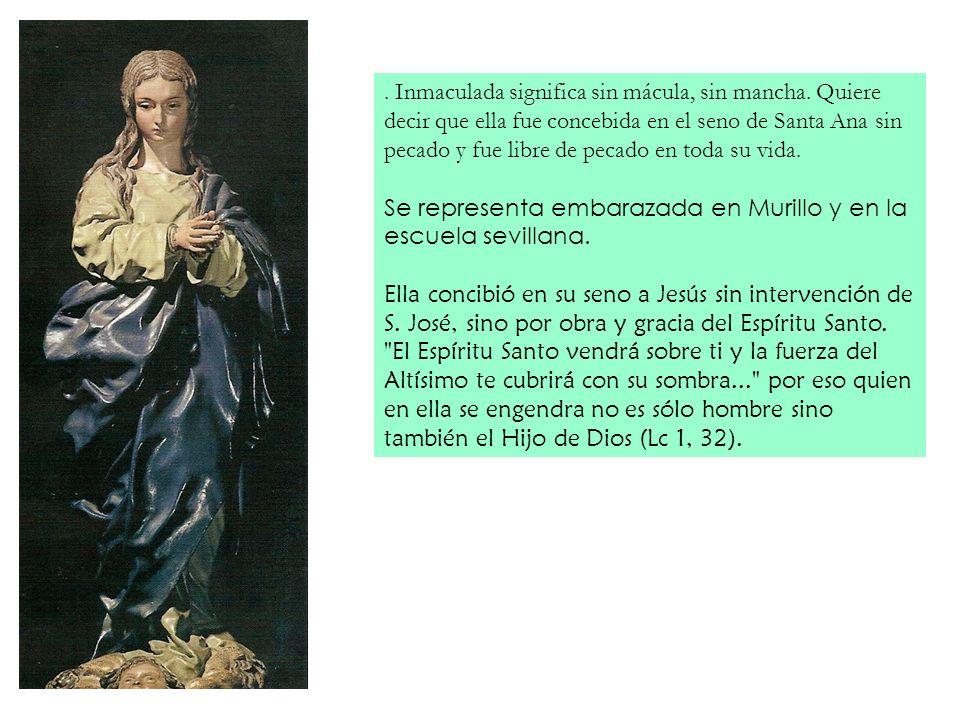 . Inmaculada significa sin mácula, sin mancha. Quiere decir que ella fue concebida en el seno de Santa Ana sin pecado y fue libre de pecado en toda su