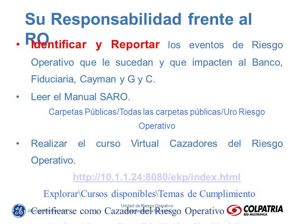 José Eliseo Parra Fonseca Director Riesgo Operativo Unidad de Riesgo Operativo Vicepresidencia Bancaria Su Responsabilidad frente al RO Identificar y