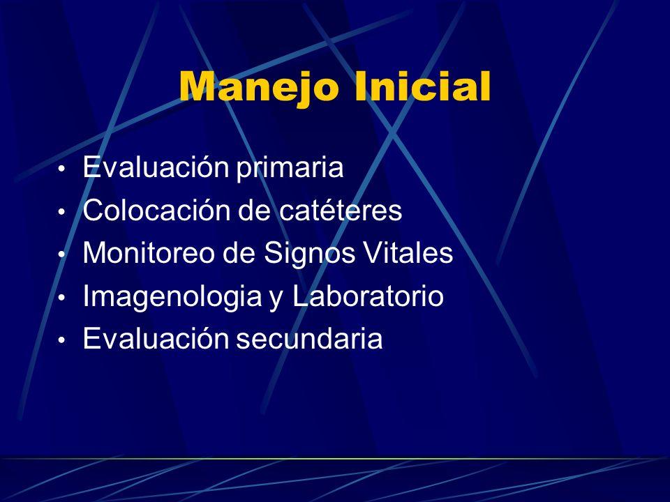 Manejo Inicial Evaluación primaria Colocación de catéteres Monitoreo de Signos Vitales Imagenologia y Laboratorio Evaluación secundaria