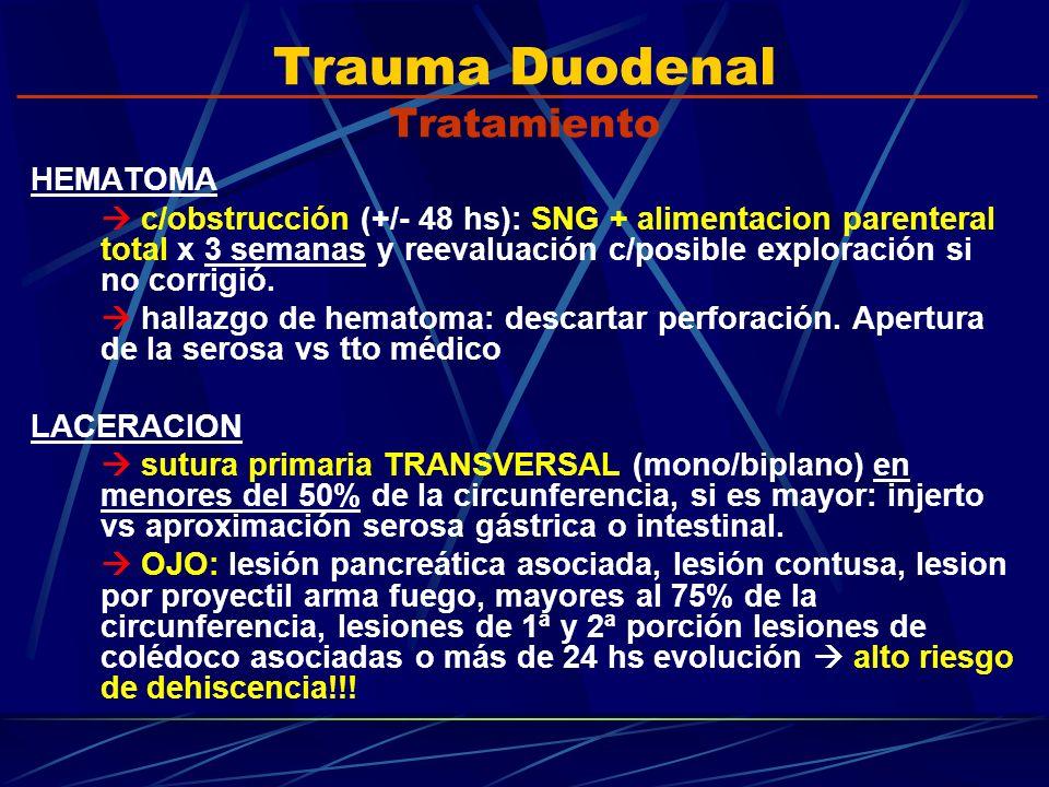 Trauma Duodenal Tratamiento HEMATOMA c/obstrucción (+/- 48 hs): SNG + alimentacion parenteral total x 3 semanas y reevaluación c/posible exploración s