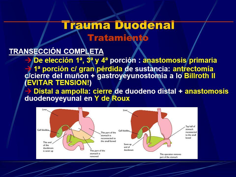 Trauma Duodenal Tratamiento TRANSECCIÓN COMPLETA De elección 1ª, 3ª y 4ª porción : anastomosis primaria 1ª porción c/ gran pérdida de sustancia: antre