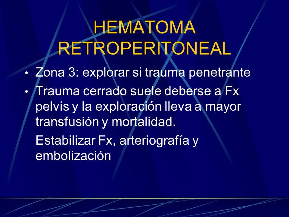 HEMATOMA RETROPERITONEAL Zona 3: explorar si trauma penetrante Trauma cerrado suele deberse a Fx pelvis y la exploración lleva a mayor transfusión y m