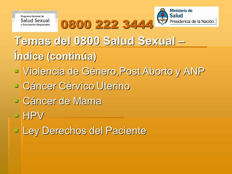 0800 222 3444 0800 222 3444 Temas del 0800 Salud Sexual – Índice (continúa) Violencia de Género,Post Aborto y ANP Violencia de Género,Post Aborto y AN
