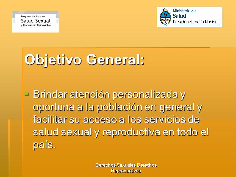 Derechos Sexuales Derechos Reproductivos Objetivo General: Brindar atención personalizada y oportuna a la población en general y facilitar su acceso a