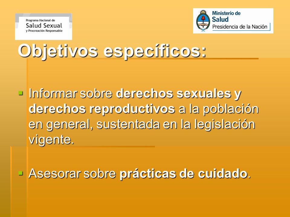 Objetivos específicos: Informar sobre derechos sexuales y derechos reproductivos a la población en general, sustentada en la legislación vigente. Info