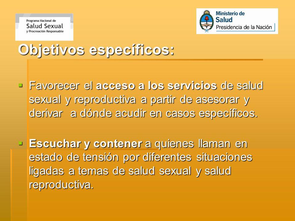 Objetivos específicos: Favorecer el acceso a los servicios de salud sexual y reproductiva a partir de asesorar y derivar a dónde acudir en casos espec
