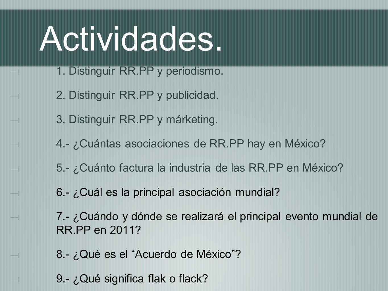 Actividades. 1. Distinguir RR.PP y periodismo. 2. Distinguir RR.PP y publicidad. 3. Distinguir RR.PP y márketing. 4.- ¿Cuántas asociaciones de RR.PP h