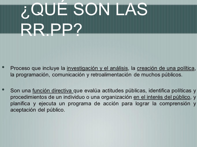 ¿QUÉ SON LAS RR.PP? Proceso que incluye la investigación y el análisis, la creación de una política, la programación, comunicación y retroalimentación