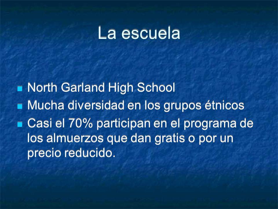 La escuela North Garland High School Mucha diversidad en los grupos étnicos Casi el 70% participan en el programa de los almuerzos que dan gratis o po