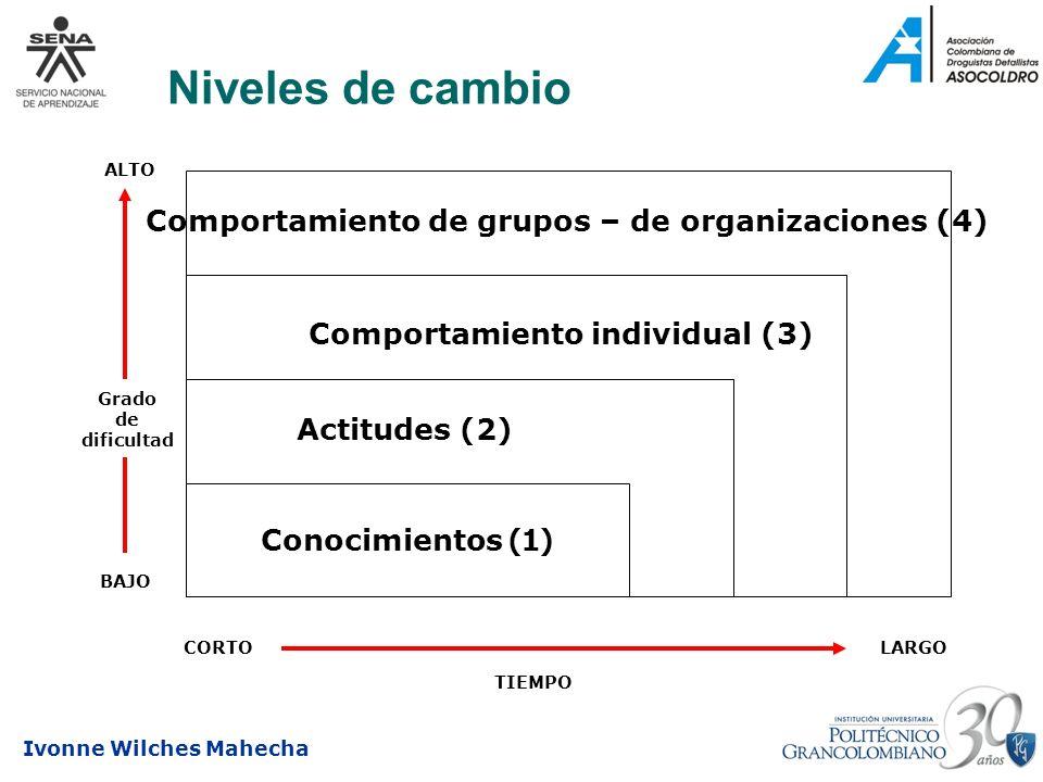 Ivonne Wilches Mahecha Niveles de cambio Conocimientos (1) Grado de dificultad ALTO BAJO CORTOLARGO TIEMPO Actitudes (2) Comportamiento individual (3)