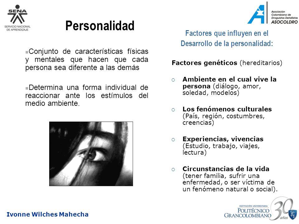 Ivonne Wilches Mahecha Factores que influyen en el Desarrollo de la personalidad: Factores genéticos (hereditarios) Ambiente en el cual vive la person