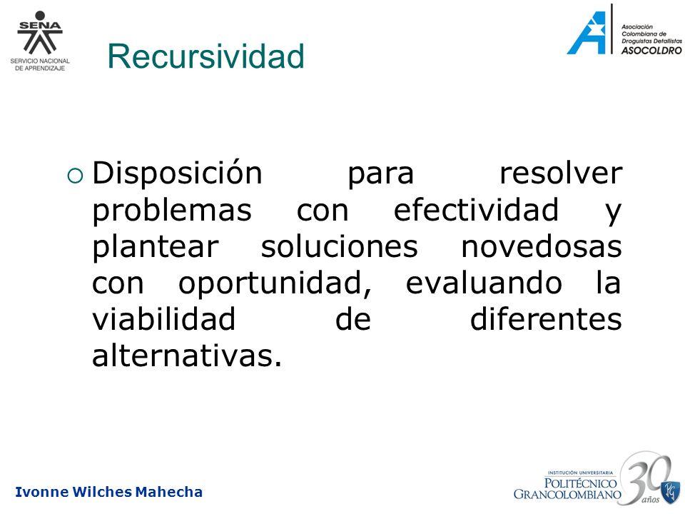 Ivonne Wilches Mahecha Recursividad Disposición para resolver problemas con efectividad y plantear soluciones novedosas con oportunidad, evaluando la