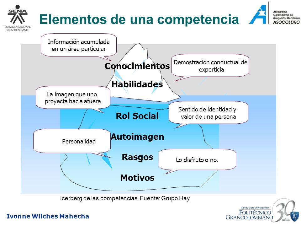 Ivonne Wilches Mahecha Elementos de una competencia Rol Social Autoimagen Rasgos Motivos Conocimientos Habilidades Rol Social Autoimagen Rasgos Motivo