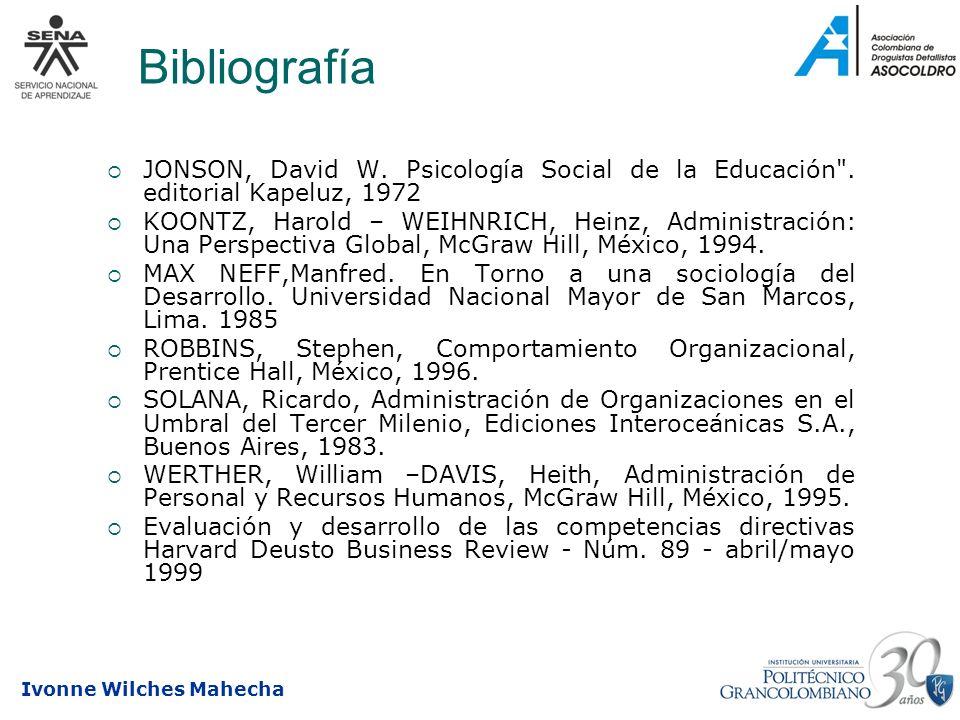 Ivonne Wilches Mahecha Bibliografía JONSON, David W. Psicología Social de la Educación