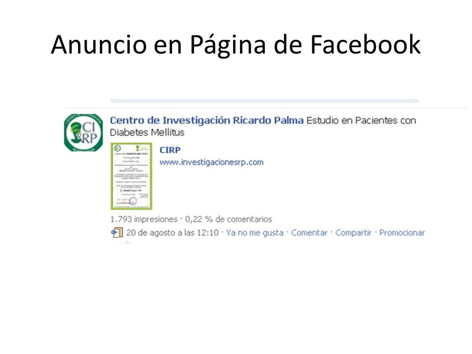 Anuncio en Página de Facebook
