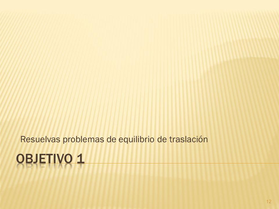 Resuelvas problemas de equilibrio de traslación 12