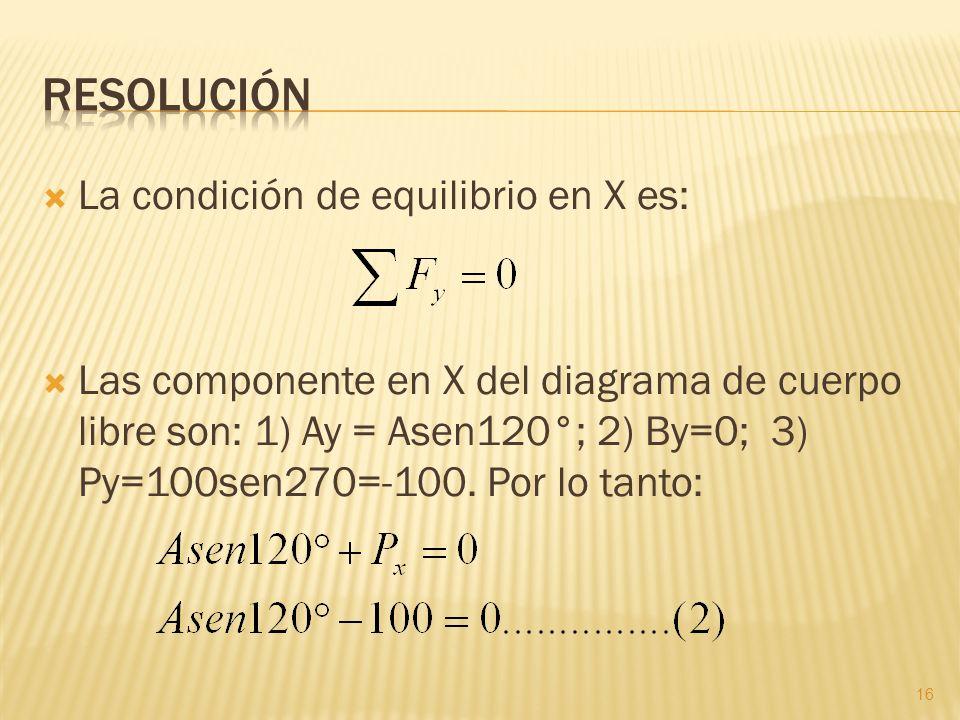 La condición de equilibrio en X es: Las componente en X del diagrama de cuerpo libre son: 1) Ay = Asen120°; 2) By=0; 3) Py=100sen270=-100. Por lo tant