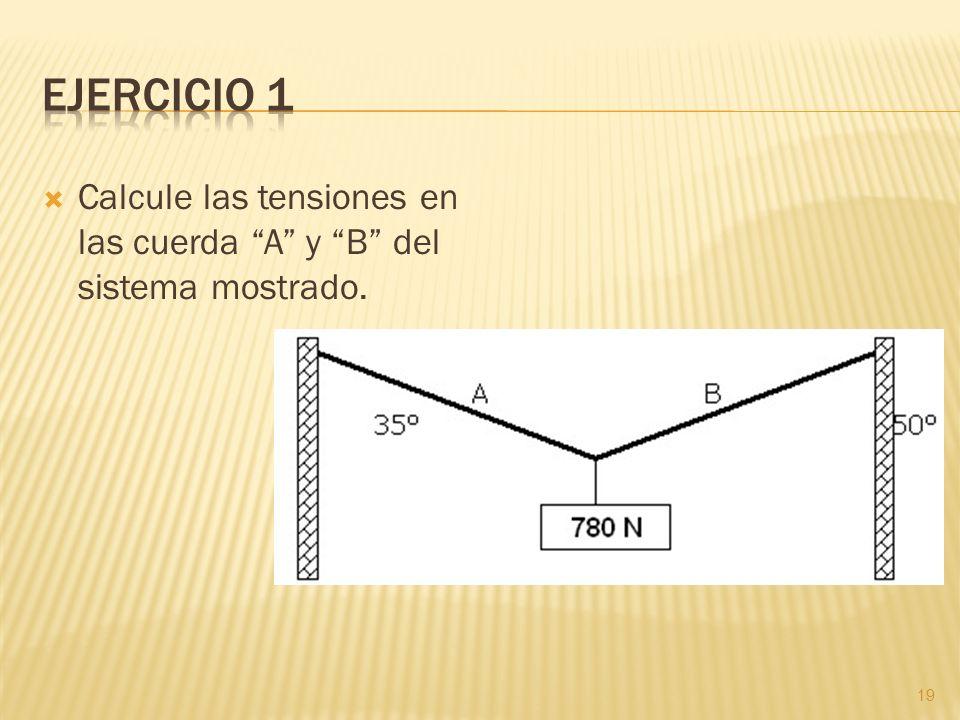 Calcule las tensiones en las cuerda A y B del sistema mostrado. 19