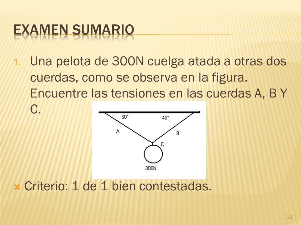 1. Una pelota de 300N cuelga atada a otras dos cuerdas, como se observa en la figura. Encuentre las tensiones en las cuerdas A, B Y C. Criterio: 1 de