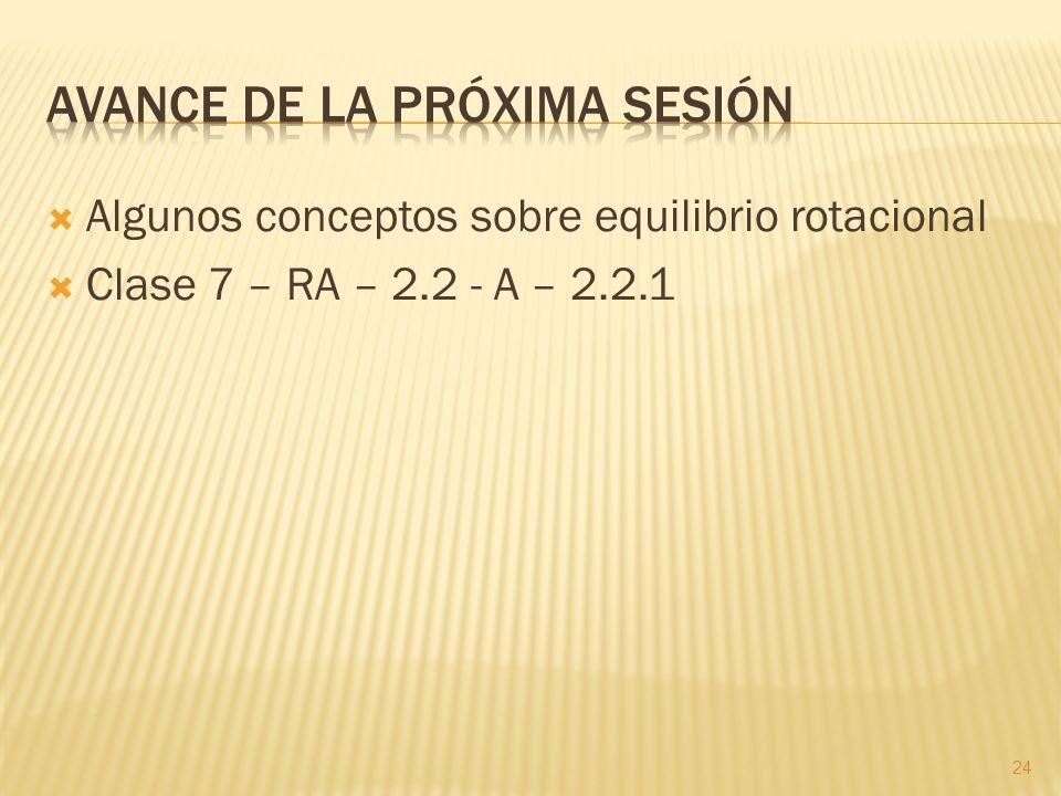 Algunos conceptos sobre equilibrio rotacional Clase 7 – RA – 2.2 - A – 2.2.1 24