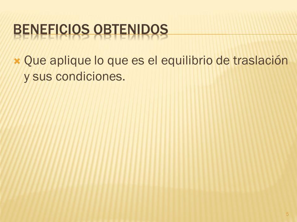 Que aplique lo que es el equilibrio de traslación y sus condiciones. 5