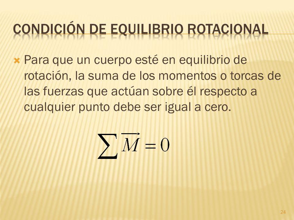 ¿Qué significa que un cuerpo cumpla la condición de equilibrio rotacional? 25