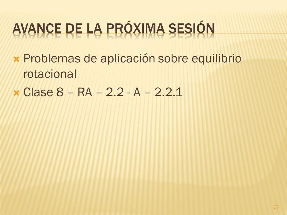 Problemas de aplicación sobre equilibrio rotacional Clase 8 – RA – 2.2 - A – 2.2.1 32