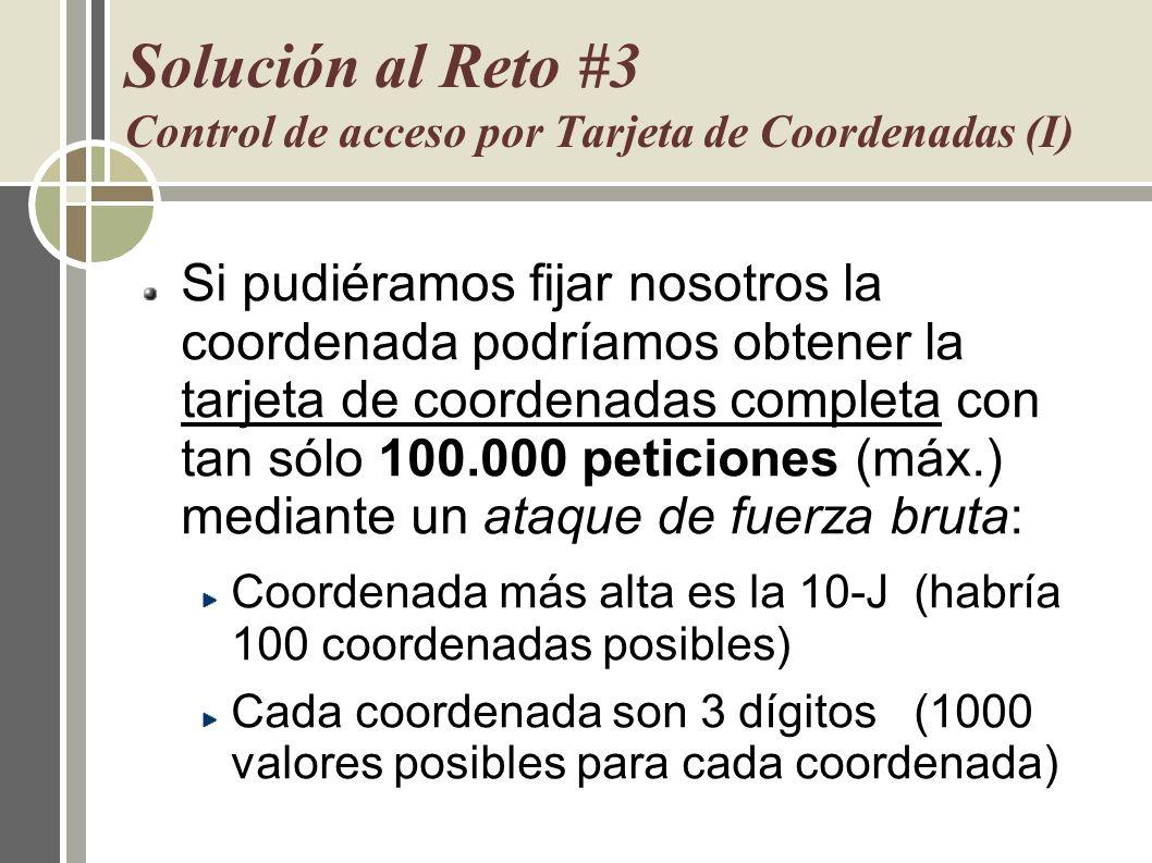 Solución al Reto #3 Control de acceso por Tarjeta de Coordenadas (I) Si pudiéramos fijar nosotros la coordenada podríamos obtener la tarjeta de coorde