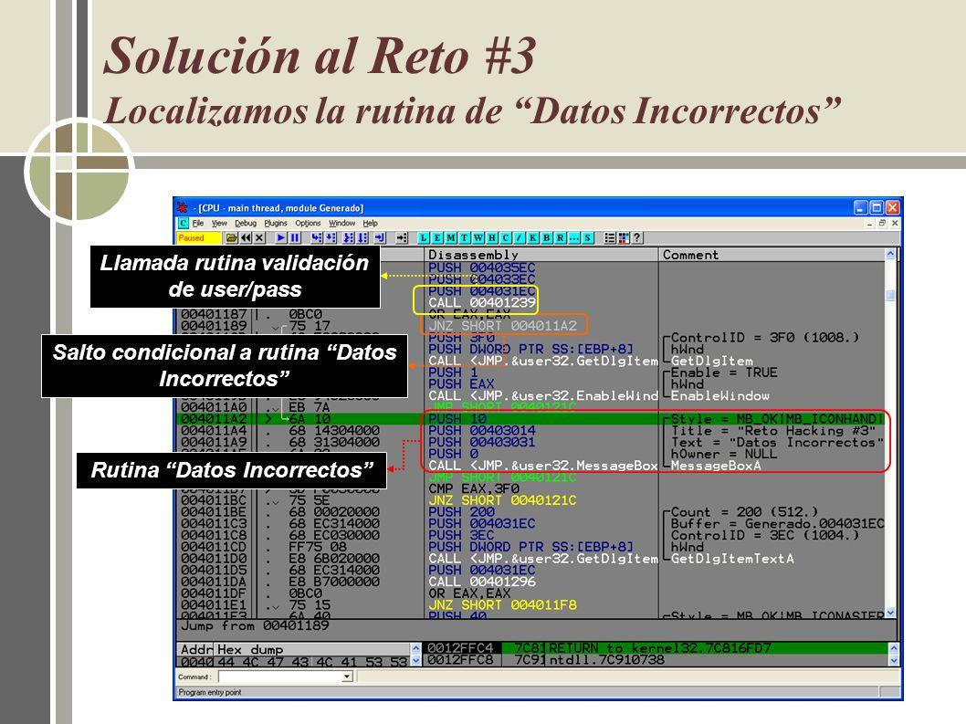 Solución al Reto #3 Localizamos la rutina de Datos Incorrectos Llamada rutina validación de user/pass Salto condicional a rutina Datos Incorrectos Rut