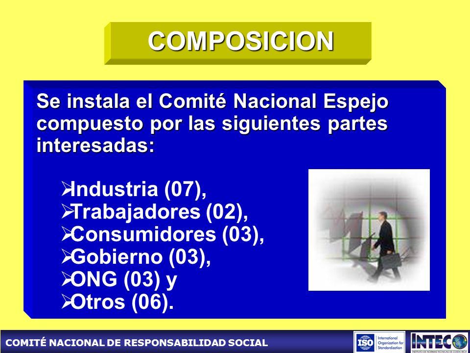 COMITÉ NACIONAL DE RESPONSABILIDAD SOCIAL COMPOSICION Se instala el Comité Nacional Espejo compuesto por las siguientes partes interesadas: Industria (07), Trabajadores (02), Consumidores (03), Gobierno (03), ONG (03) y Otros (06).