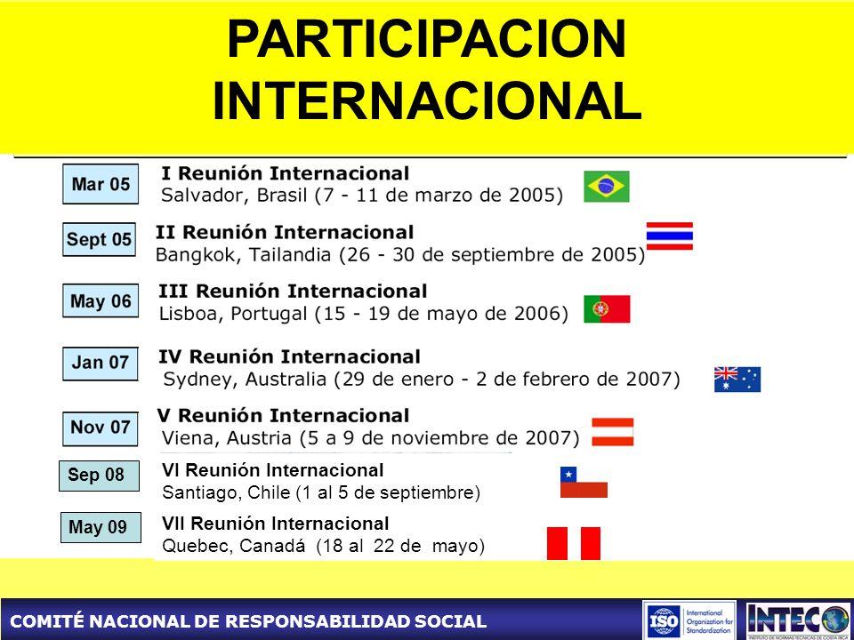 COMITÉ NACIONAL DE RESPONSABILIDAD SOCIAL VI Reunión Internacional Santiago, Chile (1 al 5 de septiembre) VII Reunión Internacional Quebec, Canadá (18 al 22 de mayo) Sep 08 May 09 PARTICIPACION INTERNACIONAL