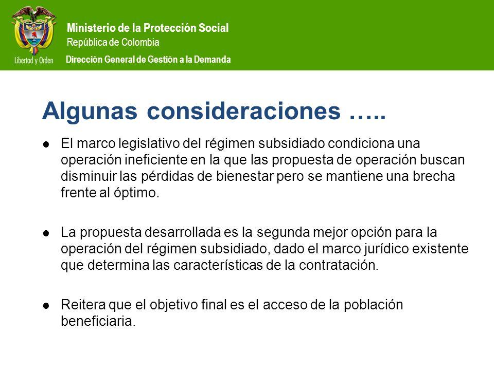 Ministerio de la Protección Social República de Colombia Dirección General de Gestión a la Demanda Algunas consideraciones ….. El marco legislativo de