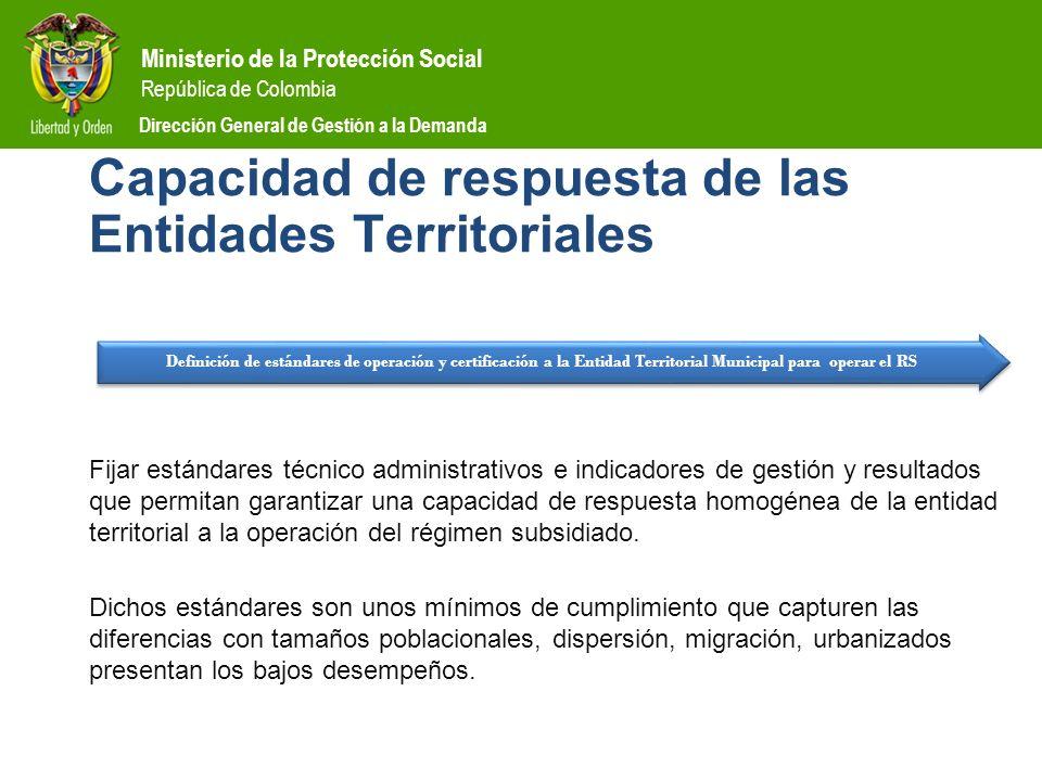 Ministerio de la Protección Social República de Colombia Dirección General de Gestión a la Demanda Capacidad de respuesta de las Entidades Territorial