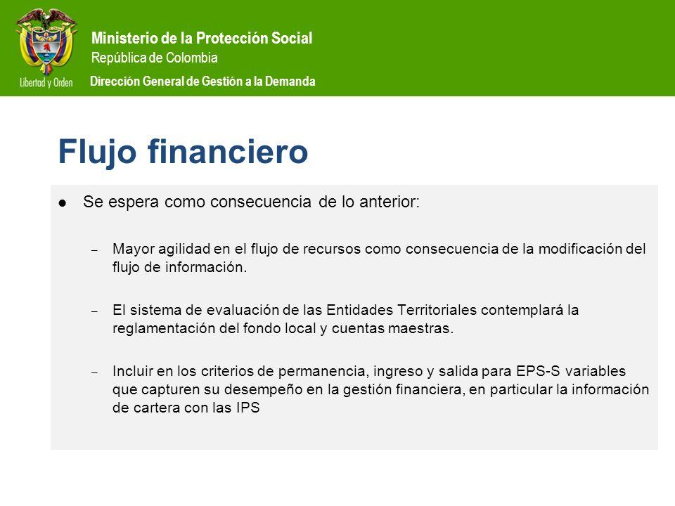 Ministerio de la Protección Social República de Colombia Dirección General de Gestión a la Demanda Flujo financiero Se espera como consecuencia de lo