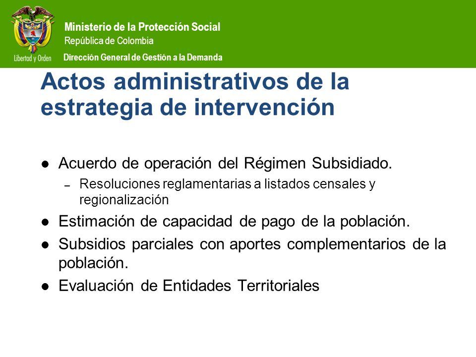 Ministerio de la Protección Social República de Colombia Dirección General de Gestión a la Demanda Actos administrativos de la estrategia de intervenc