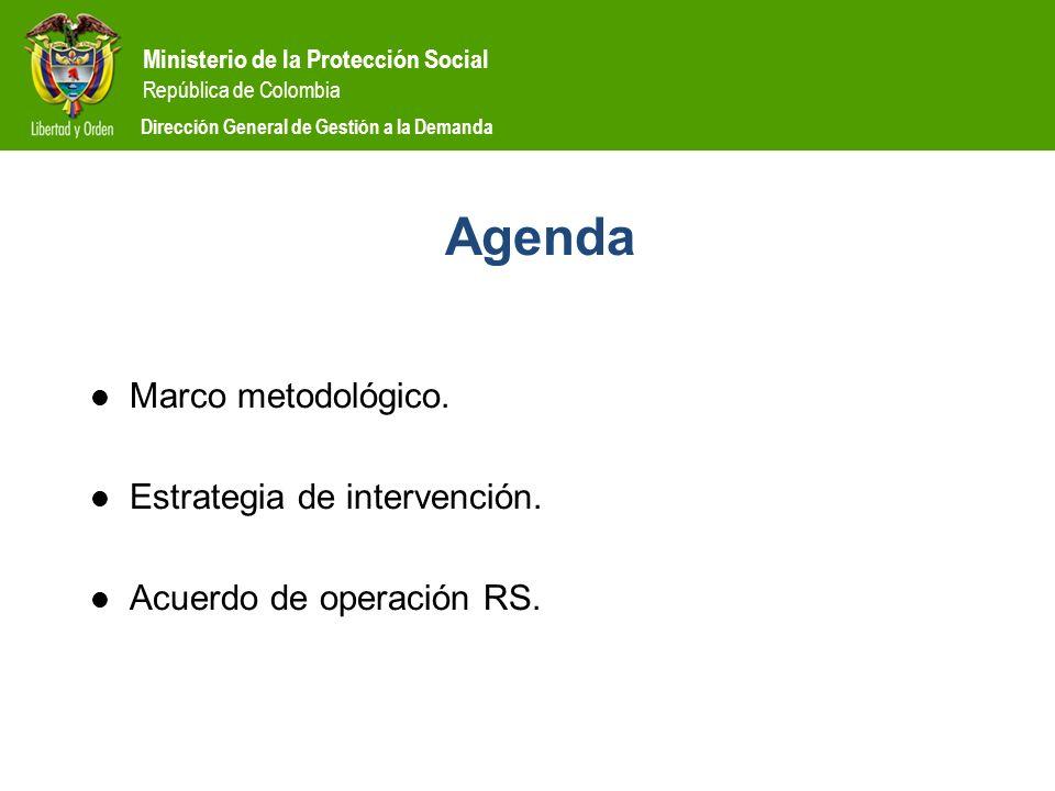 Ministerio de la Protección Social República de Colombia Dirección General de Gestión a la Demanda Agenda Marco metodológico. Estrategia de intervenci