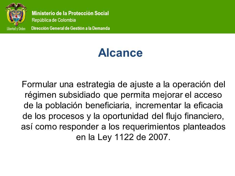 Ministerio de la Protección Social República de Colombia Dirección General de Gestión a la Demanda Alcance Formular una estrategia de ajuste a la oper